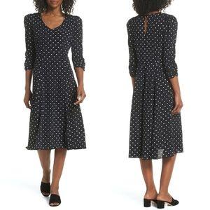 NEW Eliza J Black & White Polka Dot Midi Dress 18